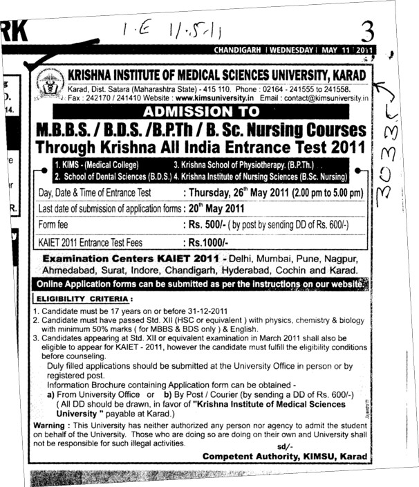 MBBS and BSc Nursing Course (Krishna Institute of Medical Sciences University KIMS)