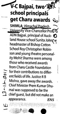 VC Bajpai two school principals get Charu awards (Himachal Pradesh University)