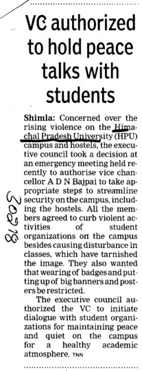 VC authorized to hold peace talks with Students (Himachal Pradesh University)