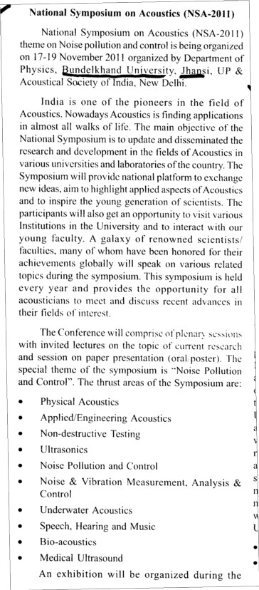 National Symposium on Acoustics 2011 (Bundelkhand University)