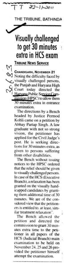 Visually Challenged to get 30 minutes extra in HCS exam (Haryana Public Service Commission (HPSC))