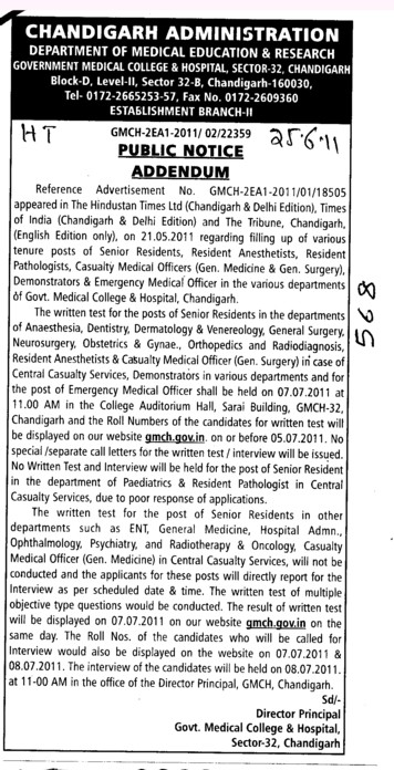 Public Notice and Addendum (Government Medical College and Hospital (Sector 32))
