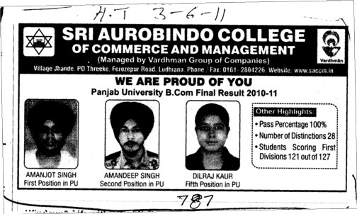 We are Proud of You (Sri Aurobindo College of Commerce and Management)