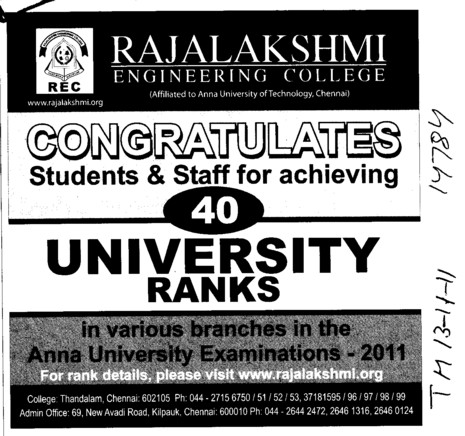 Congratulates Students and Staff for achieving (Rajalakshmi Engineering College)