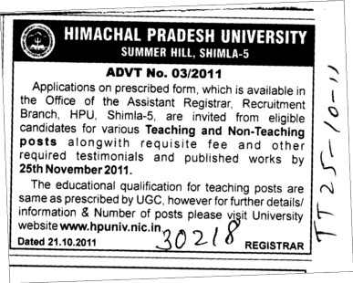 Teaching and Non Teaching Staff (Himachal Pradesh University)