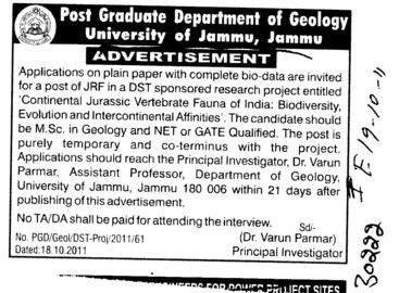 JRF required (Jammu University)