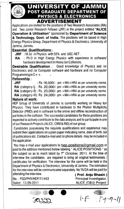 JRF and RA required (Jammu University)