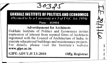 Advertisement for Architects (Gokhale Institute of Politics and Economics GIPE)