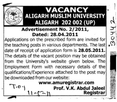 Teachers required (Aligarh Muslim University (AMU))