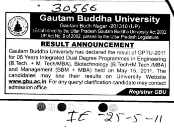 Result Annoucement (Gautam Buddha University (GBU))
