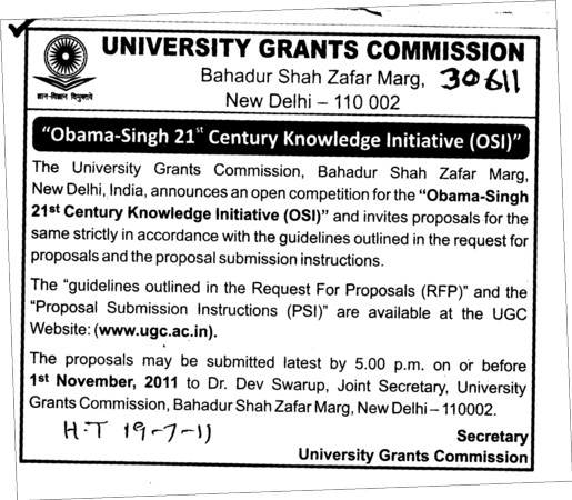 Obama Singh 21st Century initiative (University Grants Commission (UGC))