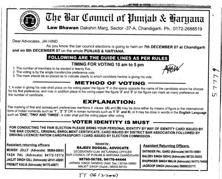 Following are the Guide Lines as per rules (Bar Council of Punjab and Haryana)