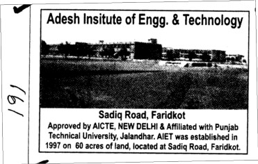 60 acres of Land (Adesh Institute of Engineering and Technology (AIET))