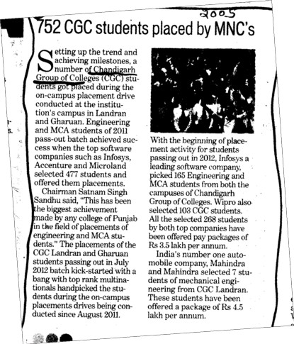 752 CGC students placed by MNCs (Chandigarh Group of Colleges)