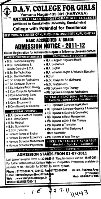 BSc BA MA and MSc etc (DAV College for Girls)