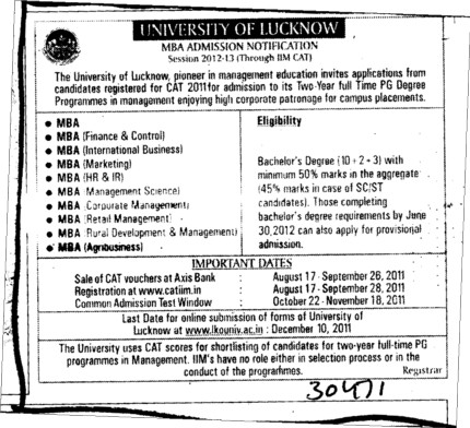 MBA in Marketing and HR Management etc (Lucknow University)