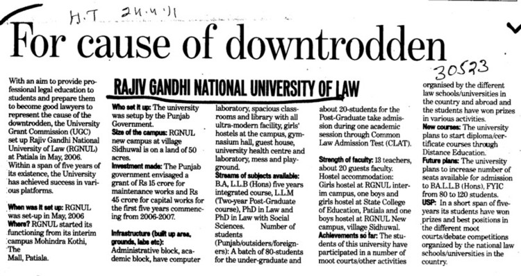 For Cause of downtrobben (Rajiv Gandhi National University of Law (RGNUL))