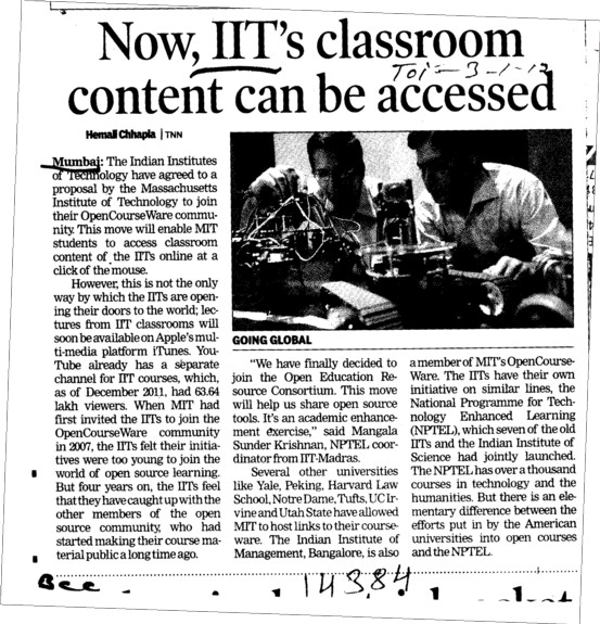 Now IITs classroom content can be accessed (Indian Institute of Technology (IITB))