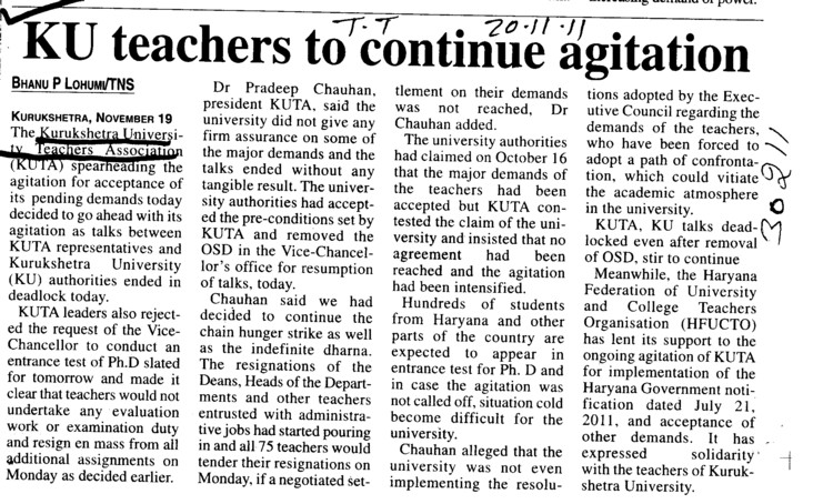 KU teachers to continue agitation (Kurukshetra University)