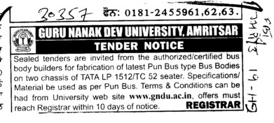 Body Builders for fabrication of latest Pun Bus type Bus Bodies (Guru Nanak Dev University (GNDU))