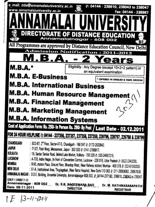 MBA in Marketing and HR Management etc (Annamalai University)