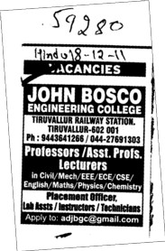 Professor and Assistant Professor required (John Bosco Engineering College)