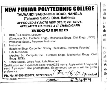 Lab Technician and HODs etc (New Punjab Polytechnic College Nangla)