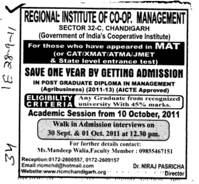 Post Graduate Diploma in Management (Regional Institute of Cooperative Management)