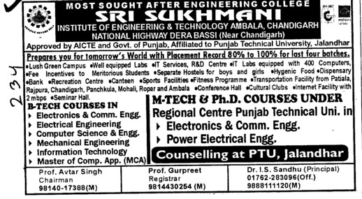 BTech MTech and PhD Courses (Sri Sukhmani Institute of Engineering and Technology)