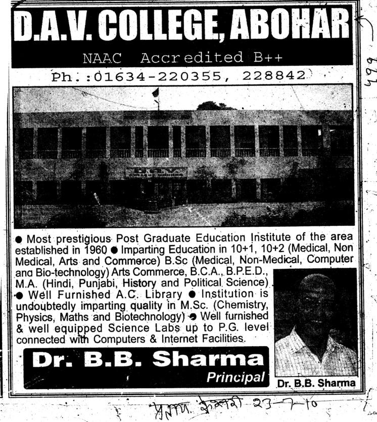 Message of Principal Dr B B Sharma (DAV College)