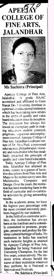 Message of Principal Ms Suchitra (Apeejay College of Fine Arts)