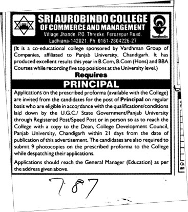 Principal required (Sri Aurobindo College of Commerce and Management)