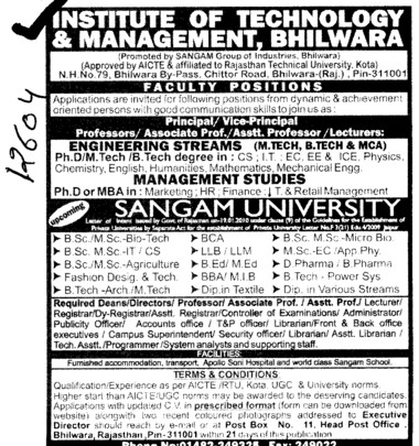 Professor and Assistant Professor required (Institute of Technology and Management ITM)