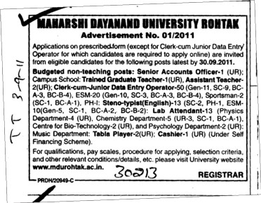 Senior Accountant and Assistant Teacher etc (Maharshi Dayanand University)