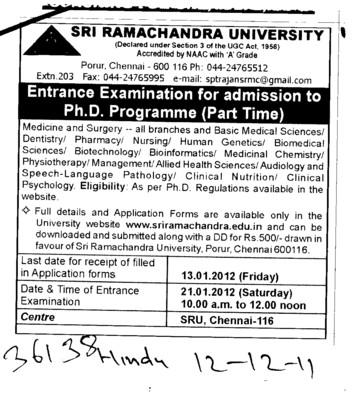 PhD Entrance Examination Test (SRM University)