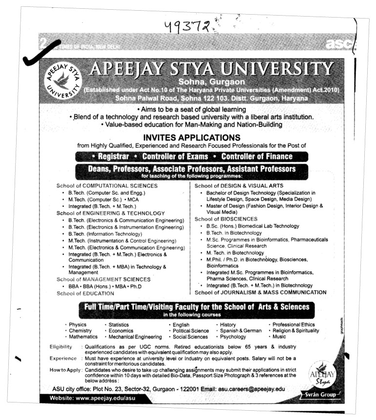 Dean Professor and Assistant Professor required (Apeejay Stya University)