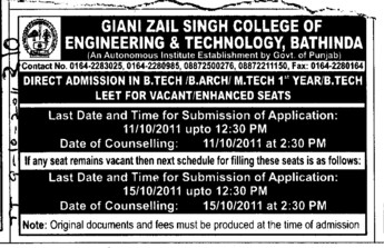 BTech BArch and Mtech through LEET also (Giani Zail Singh College Punjab Technical University (GZS PTU) Campus)