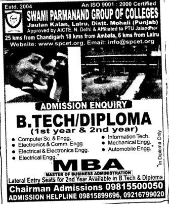 BTech and MBA Courses etc (Swami Parmanand College of Engineering and Technology (SPCET))