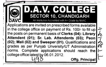 Clerks Library and Lab Attendants etc (DAV College Sector 10)