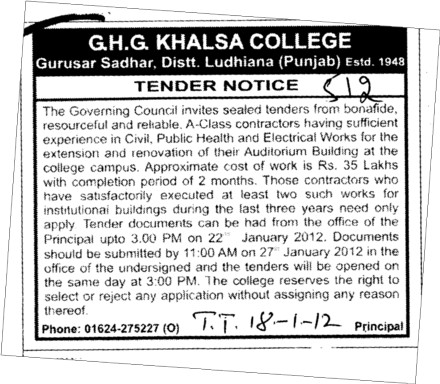 Electrical Works and Public Health etc (GHG Khalsa College)