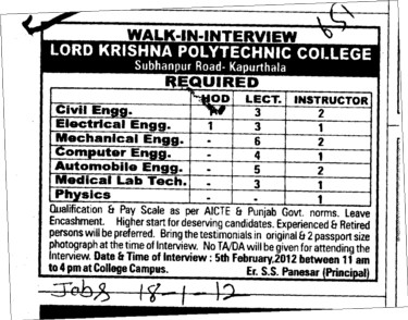 Lecturer Instructor and HOD etc (Lord Krishna Polytechnic)