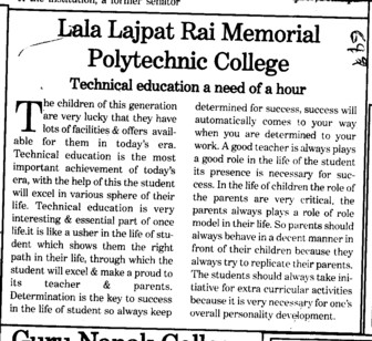 Technical Education a need of a hour (Lala Lajpat Rai Memorial Polytechnic College)