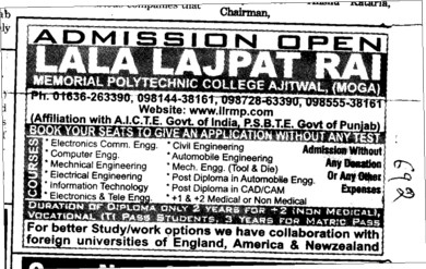 BTech in all Trades (Lala Lajpat Rai Memorial Polytechnic College)