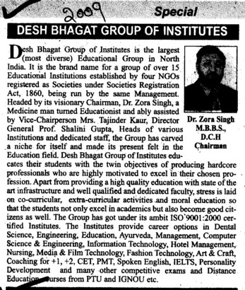 Message of Chairman Dr Zora Singh MBBS DCH (Desh Bhagat Group of Institutes)
