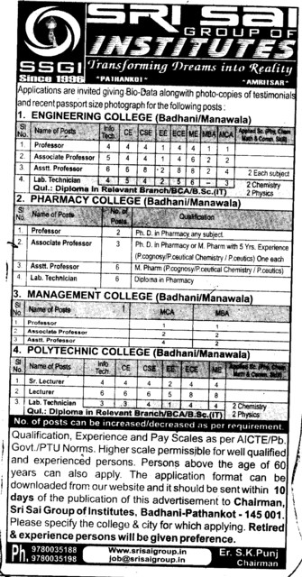 Professor and Assistant Professor required (Sri Sai Group of Instituties (SSGI))