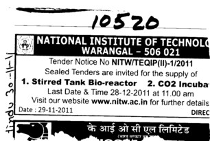 Stirred Tank Bio reactor and etc (National Institute of Technology NIT)