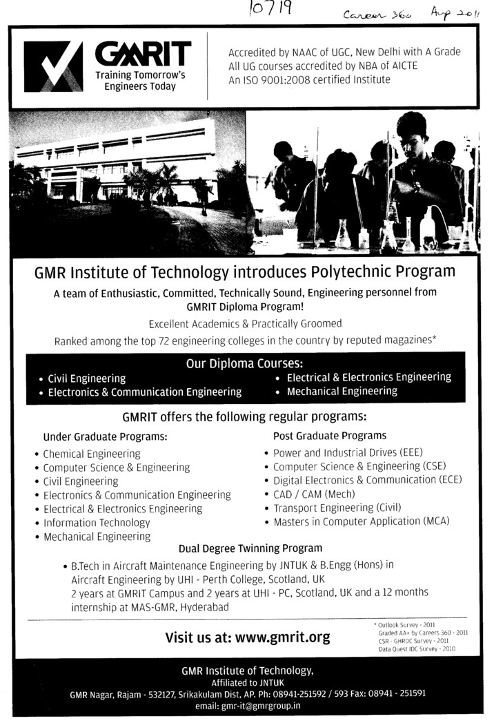 Diploma Engineering Courses (GMR Institute of Technology (GMRIT))