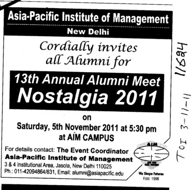 13th Annual Alumni Meet Nostalgia (Asia Pacific Institute of Management)
