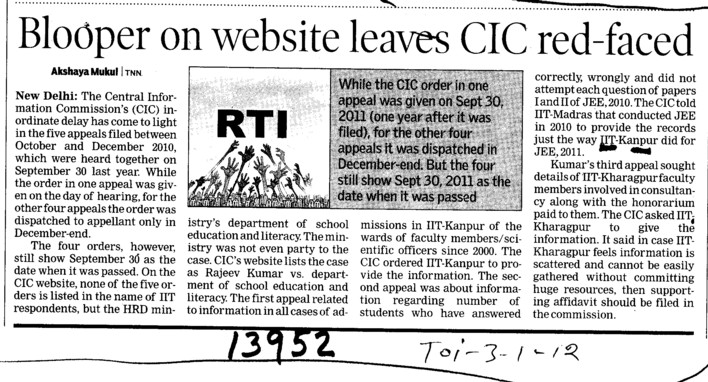 Blooper on Website leaves CIC red faced (Indian Institute of Technology (IITK))