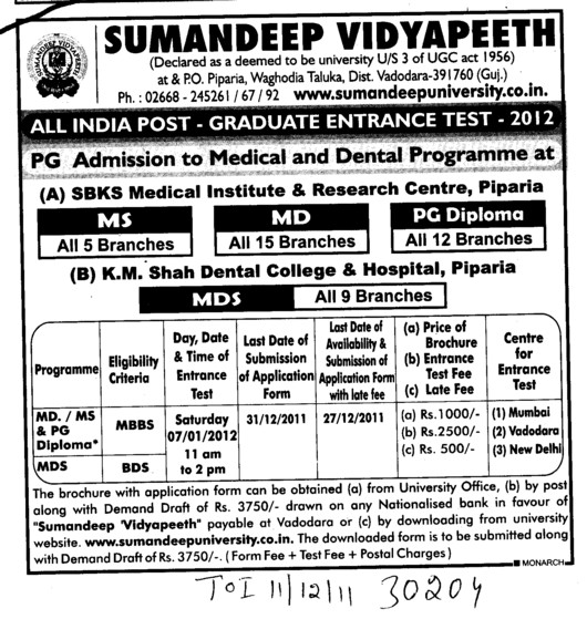 MS MD and MDS Courses (Sumandeep Vidyapeeth University Piparia)